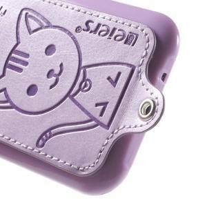 Obal s koženkovými zády a kočičkou Domi pro Samsung Galaxy J1 - fialový - 4