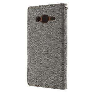 Luxury textilní/pu kožené pouzdro na Samsung Galaxy J5 - šedé - 4