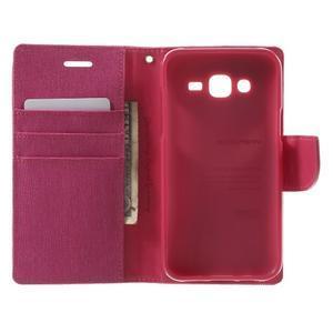 Luxury textilní/pu kožené pouzdro na Samsung Galaxy J5 - rose - 4