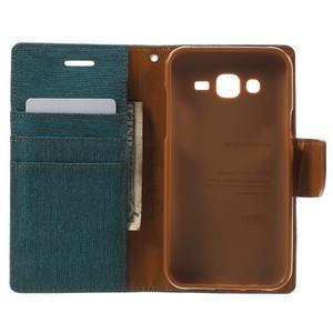 Luxury textilní/pu kožené pouzdro na Samsung Galaxy J5 - zelenomodré - 4