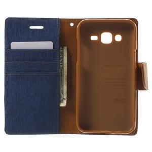 Luxury textilní/pu kožené pouzdro na Samsung Galaxy J5 - modré - 4