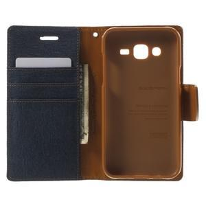Luxury textilní/pu kožené pouzdro na Samsung Galaxy J5 - tmavěmodré - 4