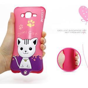 Gelový obal s kočičkou Domi s koženkovými zády na Samsung Galaxy J5 - rose - 4