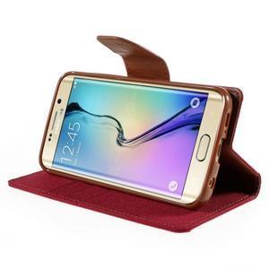 Luxury textilní/koženkové pouzdro pro Samsung Galaxy S6 Edge - červené - 4