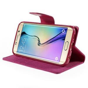 Luxury textilní/koženkové pouzdro pro Samsung Galaxy S6 Edge - rose - 4