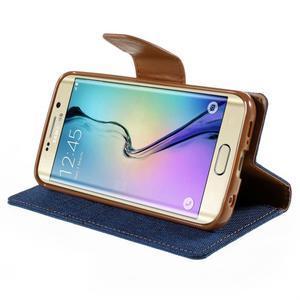 Luxury textilní/koženkové pouzdro pro Samsung Galaxy S6 Edge - modré - 4