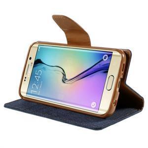 Luxury textilní/koženkové pouzdro pro Samsung Galaxy S6 Edge - jeans - 4