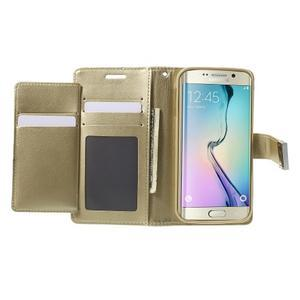 Wallet PU kožené pouzdro na Samsung Galaxy S6 Edge G925 - champagne - 4