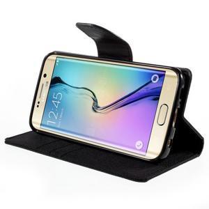 Luxury textilní/koženkové pouzdro pro Samsung Galaxy S6 Edge - černé - 4