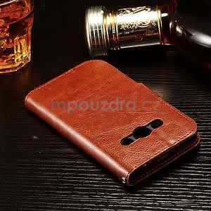 Koženkové peněženkové pouzdro na Samsung Galaxy Xcover 3 - hnědé - 4