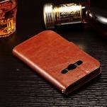Koženkové peněženkové pouzdro na Samsung Galaxy Xcover 3 - hnědé - 4/7