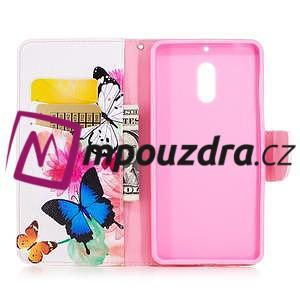 Emotive PU kožené pouzdro na mobil Nokia 6 - květinoví motýlci - 4