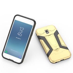 Combo odolný obal se stojánkem na Samsung Galaxy J3 (2017) - zlatý - 4