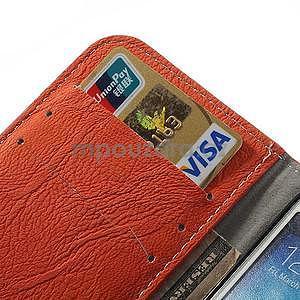 PU kožené peněženkové pouzdro na Samsung Galaxy S4 - oranžové - 4