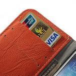 PU kožené peněženkové pouzdro na Samsung Galaxy S4 - oranžové - 4/7