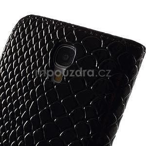 PU kožené peněženkové pouzdro s hadím motivem na Samsung Galaxy S4 - černé - 4
