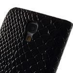 PU kožené peněženkové pouzdro s hadím motivem na Samsung Galaxy S4 - černé - 4/5