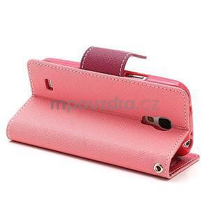 PU kožené peněženkové pouzdro na Samsung Galaxy S4 mini - růžové - 4