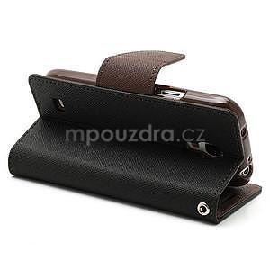 PU kožené peněženkové pouzdro na Samsung Galaxy S4 mini - hnědé/černé - 4