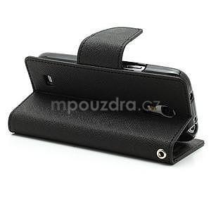 PU kožené peněženkové pouzdro na Samsung Galaxy S4 mini - černé - 4