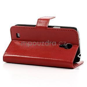 Peněženkové PU kožené pouzdro na Samsung Galaxy S4 mini - červené - 4