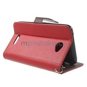 PU kožené lístkové pouzdro pro Sony Xperia E4 - červené - 4
