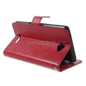 PU kožené peněženkové pouzdro na mobil Sony Xperia E4 - červené - 4