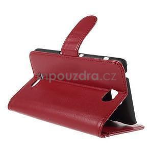 Peněženkové PU kožené pouzdro na Sony Experia E4 - červené - 4