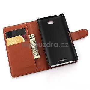 PU kožené peněženkové pouzdro na mobil Sony Xperia E4 - hnědé - 4