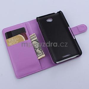 PU kožené peněženkové pouzdro na mobil Sony Xperia E4 - fialové - 4