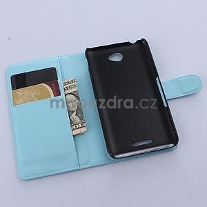 PU kožené peněženkové pouzdro na mobil Sony Xperia E4 - světle modé - 4