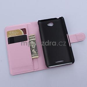 PU kožené peněženkové pouzdro na mobil Sony Xperia E4 - růžové - 4