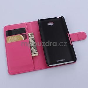 PU kožené peněženkové pouzdro na mobil Sony Xperia E4 - rose - 4