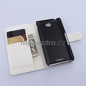 PU kožené peněženkové pouzdro na mobil Sony Xperia E4 -  bílé - 4