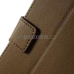 PU kožené peněženkové pouzdro na Sony Xperia E4 - hnědé - 4