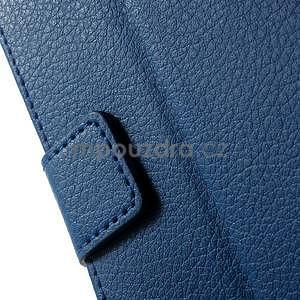 PU kožené peněženkové pouzdro na Sony Xperia E4 - modré - 4