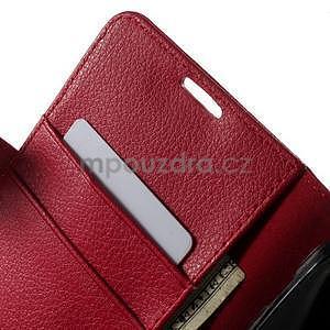 PU kožené peněženkové pouzdro na Sony Xperia E4 - červené - 4