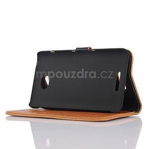 PU kožené PU peněženkové pouzdro na Sony Xperia E4 - hnědé - 4