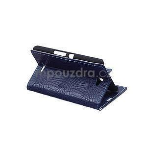 Pouzdro s krokodýlím vzorem na Sony Xperia E4 - tmavě modré - 4