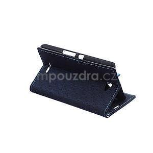 Vzorované pěněženkové pouzdro na Sony Xperia E4 - tmavě modré - 4