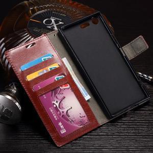 Wallet PU kožené zapínací pouzdro na Sony Xperia XZ Premium - fialové - 4