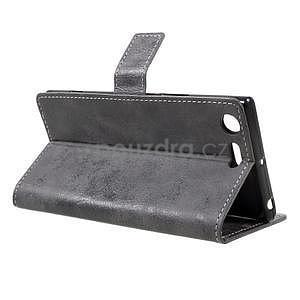 Vintage PU kožené pouzdro na mobil Sony Xperia XZ Premium - šedé - 4