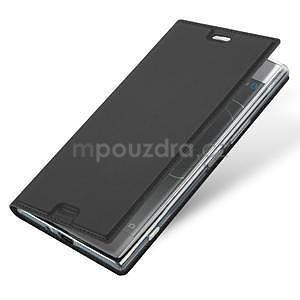 DUX PU kožené klopové pouzdro na Sony Xperia XZ Premium - šedé - 4