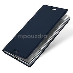 DUX PU kožené klopové pouzdro na Sony Xperia XZ Premium - tmavěmodré - 4