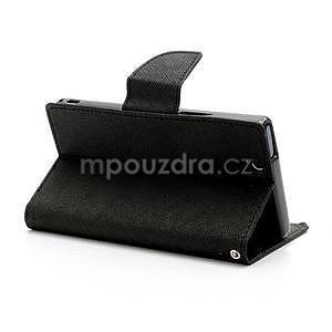 Peněženkové PU kožené pouzdro na Sony Xperia Z - černé - 4