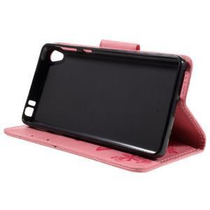 Butterfly PU kožené pouzdro na Sony Xperia E5 - růžové - 4