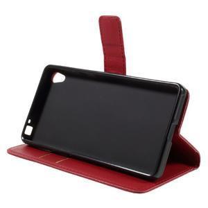 Leathy PU kožené pouzdro na Sony Xperia E5 - červené - 4