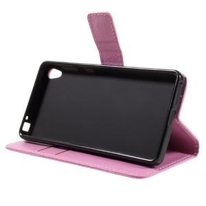 Leathy PU kožené pouzdro na Sony Xperia E5 - růžové - 4