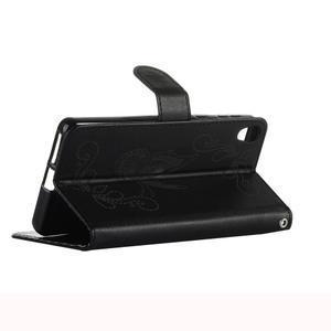 Motýlkové PU kožené pouzdro na mobil Sony Xperia E5 - černé - 4