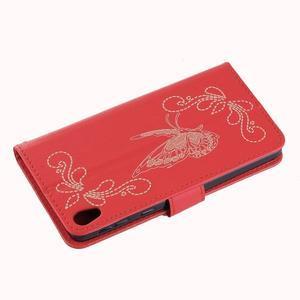 Motýlkové PU kožené pouzdro na mobil Sony Xperia E5 - červené - 4